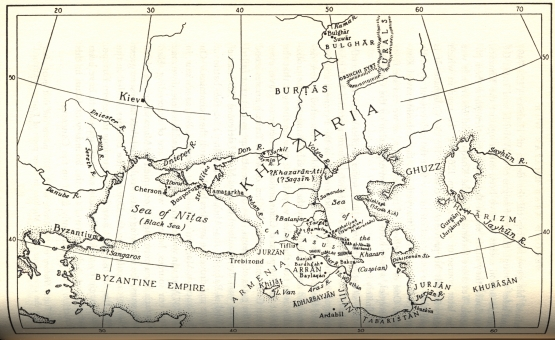 Map of KHAZARIA, page 88 from The History of the Jewish Khazars by D.M. Dunlop